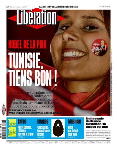 une, liberation, tunisie,paix,nobel, 2015